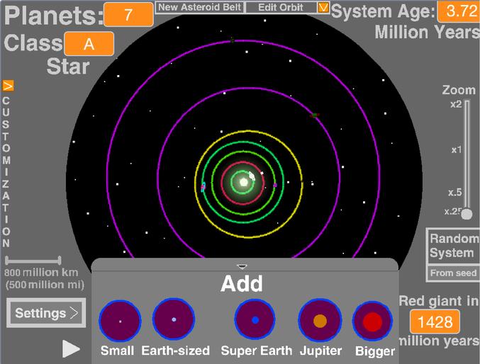 Je vous propose aujourd'hui un petit jeu sans prétention de création de système solaire. Pour commencer, cliquez sur le petit drapeau vert au centre de l'écran et espace pour commencer. L'ajout de planètes se fait par le biais de l'onglet déroulant en bas de l'écran, d'autres options sont présentes dans les menus autour... Amusez-vous bien :) https://scratch.mit.edu/projects/112647500/fullscreen/
