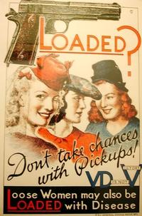 """Affiche mettant en garde les GI de la 2ème guerre mondiale contre les prostitués """"chargées"""" en MST."""