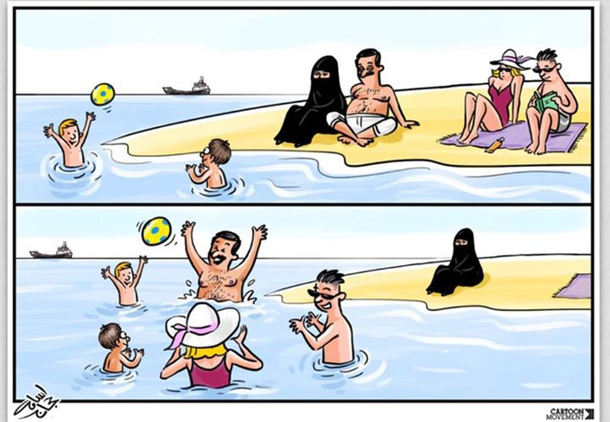 """L'état islamique enrage contre ce dessin sur l'oppression des femmes sous la charia. Publié pour la première fois il y a quelques jours, Osama Hajjaj a reçu d'innombrables insultes et même des menaces de mort des supporters de Daesh en Jordanie. Sa réponse : """"ces cons ne me stopperont pas. Je croirai toujours en la liberté de pensée et d'expression, qui sont des droits humains fondamentaux."""" Nous partageons le combat d'Osama et c'est pourquoi nous diffusons ce dessin aujourd'hui, avec sa permission et sa solidarité (récupéré via fb)"""