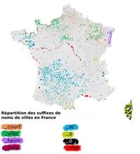 Répartition des noms de ville en France