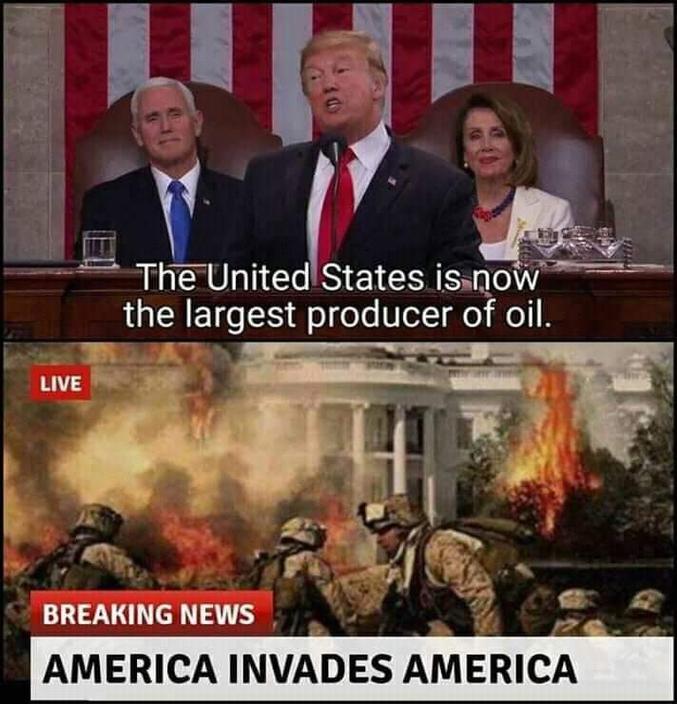 """""""Les USA sont dorénavant les premiers producteurs de pétrole au monde. Info de dernière minute : les USA envahissent les USA !"""""""