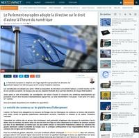 Le Parlement européen adopte la directive sur le droit d'auteur à l'heure du numérique
