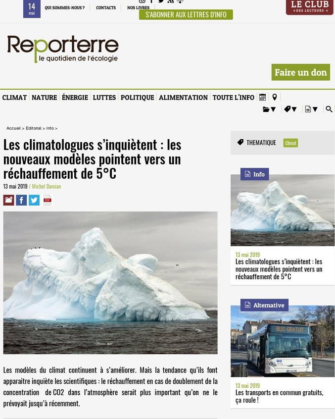 Les modèles du climat continuent à s'améliorer. Mais la tendance qu'ils font apparaître inquiète les scientifiques : le réchauffement en cas de doublement de la concentration de CO2 dans l'atmosphère serait plus important qu'on ne le prévoyait jusqu'à récemment.