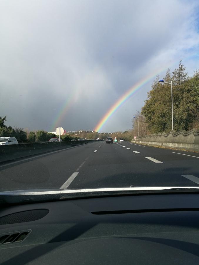 """Au volant de mon vsl je me baladais aux alentours de Saint Brieuc, quand soudain...""""A Double Rainbow !!! OMG !!!"""" (À ceux qui ont vu la vidéo référence)"""