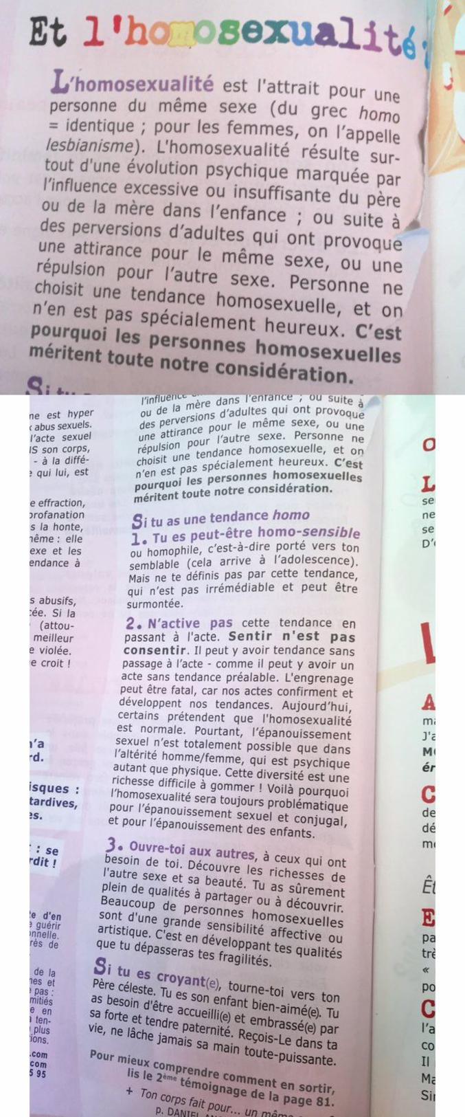 Un manuel sur la sexualité a été distribué jeudi aux classes de première du lycée privé Notre-Dame Sainte-Croix à Neuilly-sur-Seine. On y apprend que l'homosexualité vient de «perversions» et qu'une fille ne doit surtout pas «commettre l'irréparable»: avorter.  source: https://www.buzzfeed.com/davidperrotin/le-livret-distribue-par-ce-lycee-catho-affirme-que-lhomosexu