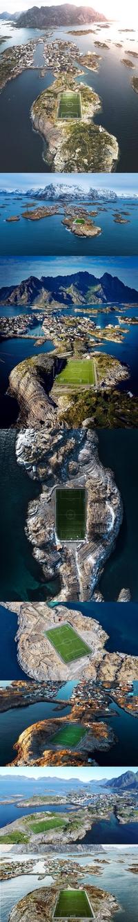 Le stade de foot de Henningsvær