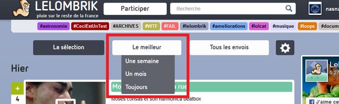 """actuellement, le fichier """"idée à la con"""" (http://lelombrik.net/91942) est à +20. Dès le premier commentaire, l'auteur signale son #fail (il est même top commentaire). Je me permets donc de vous signaler (subtilement) un petit bouton se trouvant entre """"sélection"""" et """"tous les envois""""."""