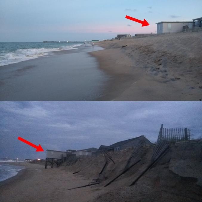 L'ouragan Florence a provoqué une érosion drastique des plages de Kill Devil Hill en Caroline du Nord en quelques heures (photos de Nick Cohn, 15 septembre 2018). Si la vitesse du vent de l'ouragan a fortement baissé à l'approche des côtes, les précipitations, les vagues et la houle restaient particulièrement hors norme, engendrant de très importantes inondations qui ont elles mêmes provoqué une pollution globale. Il y a quelques années, l'état de Caroline du Nord a voté la dérégulation des constructions, sur le bord de mer notamment, via un plan climatosceptique.