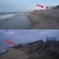 Erosion de plages suite à l'ouragan Florence.