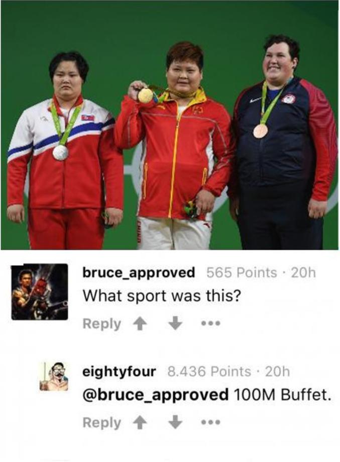 - C'était quoi comme épreuve ?  - 100 mètres buffet.  NdR : probablement un fake, les américains ne figurent pas sur le podium.