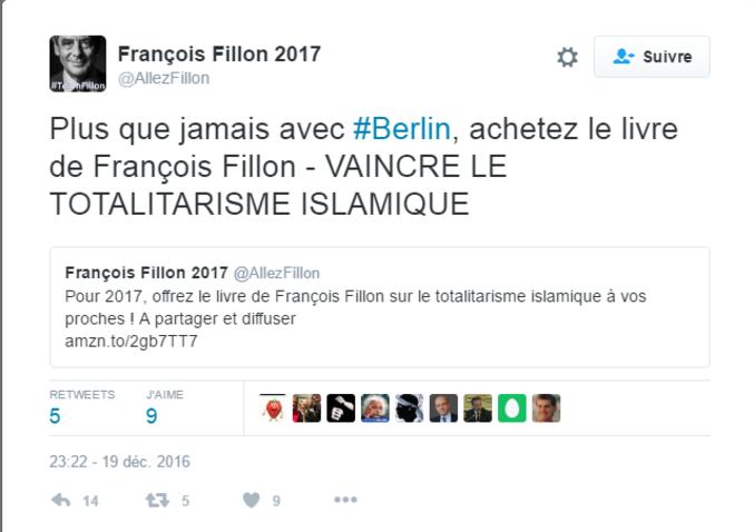 """Un tweet """"maladroit"""" d'une équipe de supporters de Fillon après les événements de Berlin. La police parle pour le moment d'un """"probable attentat""""."""