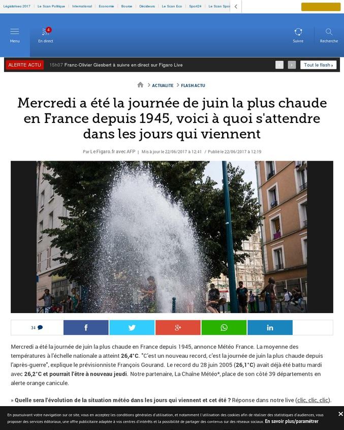 Mercredi a été la journée de juin la plus chaude en France depuis 1945.