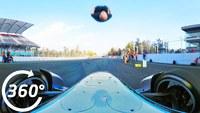Vidéo 360° de Damien Walter faisant un Salto arrière au dessus d'une Formula E