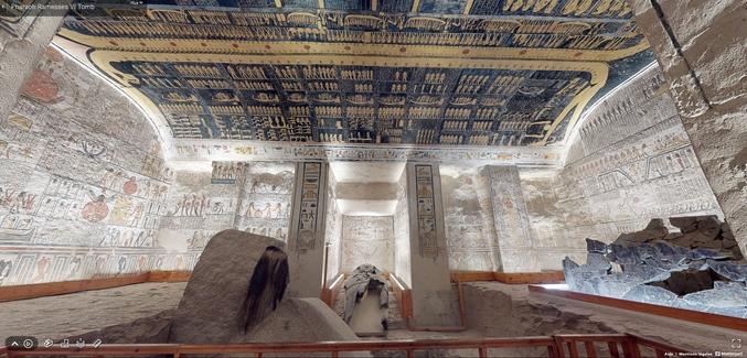https://my.matterport.com/show/?m=NeiMEZa9d93&mls=1 (je n'arrive pas à mettre le lien en direct...)  Le ministère égyptien du tourisme et des monuments offre la visite virtuelle du tombeau de Ramsès VI, une tombe égyptienne vieille de 3000 ans ! Figure emblématique de l'Égypte, 5e Pharaon de la XXème dynastie, Ramsès VI régna de 1145 à 1137 av J-C sur toute l'Égypte antique. Jadis, un tombeau digne de sa grandeur lui fut consacré.
