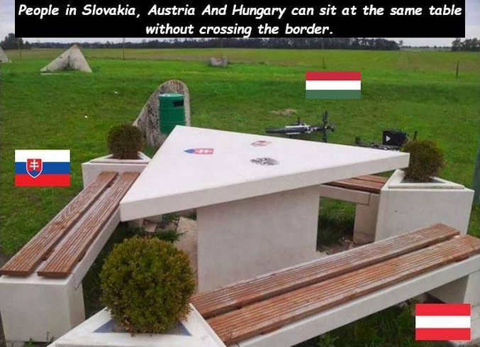 ... entre la Slovaquie, l'Autriche et la Hongrie.  Du coup, il faut payer des taxes à chaque fois qu'on te passe le sel ?