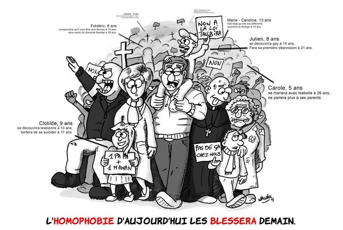 """Aujourd'hui, c'est la Journée internationale contre l'homophobie, la transphobie et la biphobie. C'est donc l'occasion de ressortir ce dessin de Nawak paru en 2013 lors des manifestations menées par """"la manif pour tous"""" où l'on a pu voir de """"vraies belles familles catholiques typiques et conformes à la morale"""" défiler dans les rues."""
