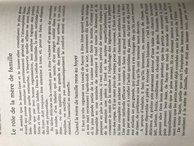 Petit extrait du Reader's Digest de 1975 sur le Savoir vivre des mères au foyer