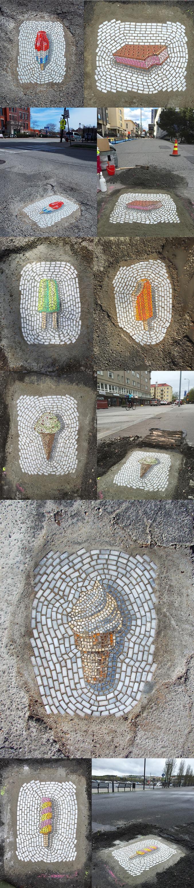 L'artiste Jim Bachor a rebouché les nids-de-poules des rues de Chicago avec des mosaïques.