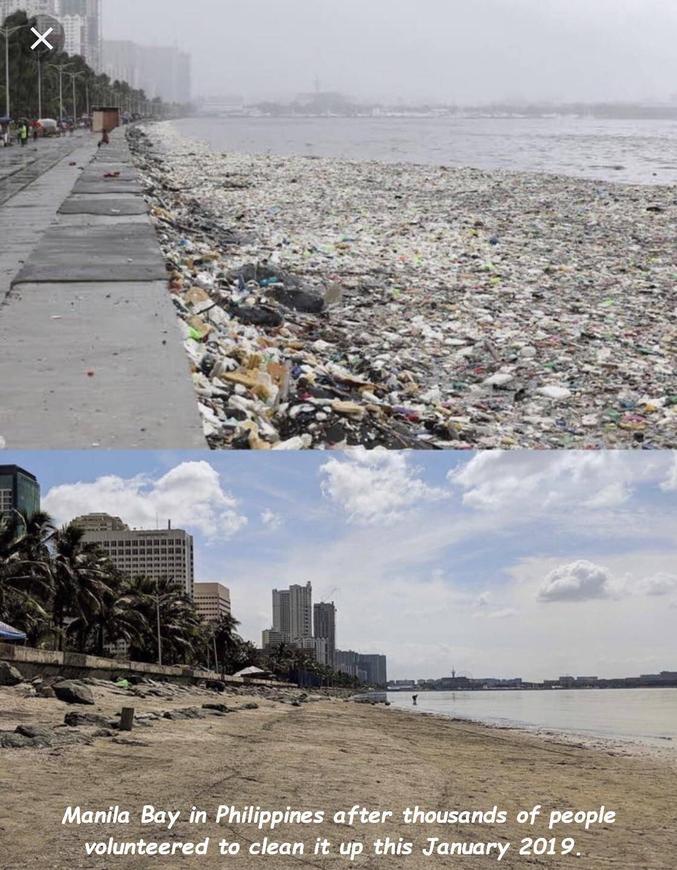 #detrashed incite les gens à poster les photos d'endroits avant et après qu'ils en ont enlevé les déchets.