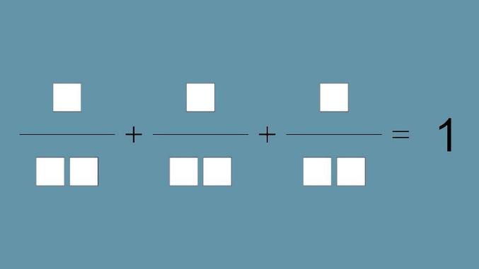 En utilisant le chiffres de 1 à 9 chacun une fois, remplissez les cases de telle sorte que la somme soit correcte.  Source : https://www.rts.ch/decouverte/sciences-et-environnement/maths-physique-chimie/probleme-du-mois/9396355-la-somme-mystere.html
