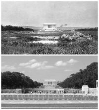 Washington DC : Le Lincoln Memorial en 1917 et aujourd'hui.