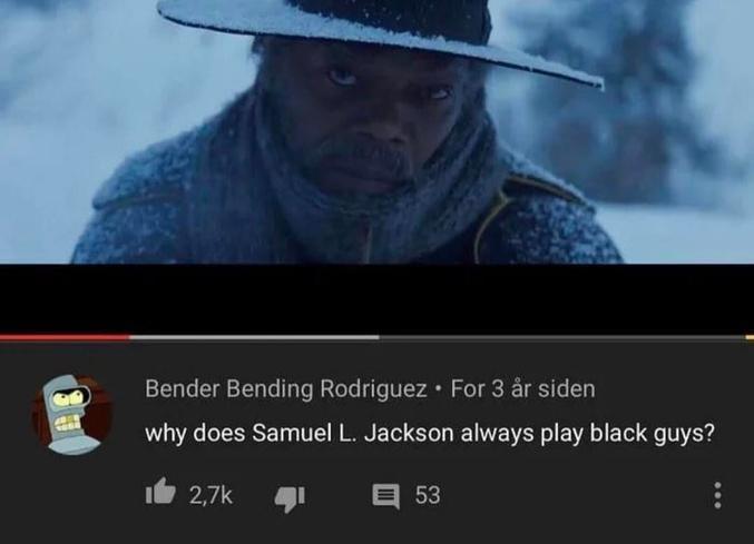 """Si quelqu'un a la réponse... """"Pourquoi Samuel L. Jackson joue toujours des mecs noirs ?"""""""