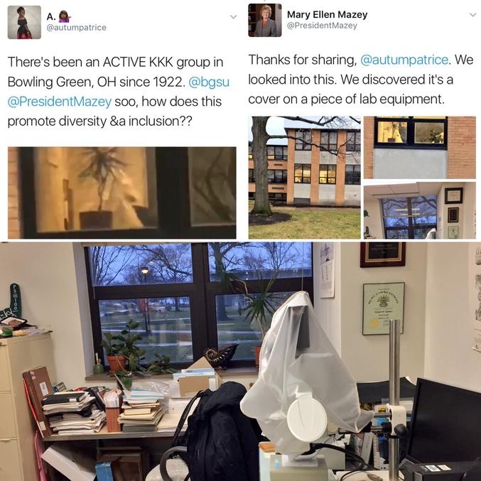 """We are in France, we speak french : """" - Il y a un groupe actif de membres du Ku Klux Klan à Bowling green, Ohio depuis 1922. Alors comment est-ce que ça promeut la diversité et l'intégration ? - Merci pour votre partage. Nous sommes allé vérifier. Nous avons découvert qu'il s'agit d'une protection sur un appareil de laboratoire."""""""
