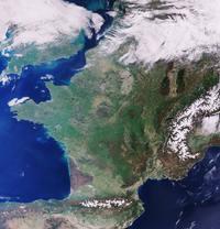 La France vue du satellite Sentinel-3 de l'Agence spatiale européenne