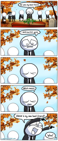 A l'enterrement de son meilleur ami...