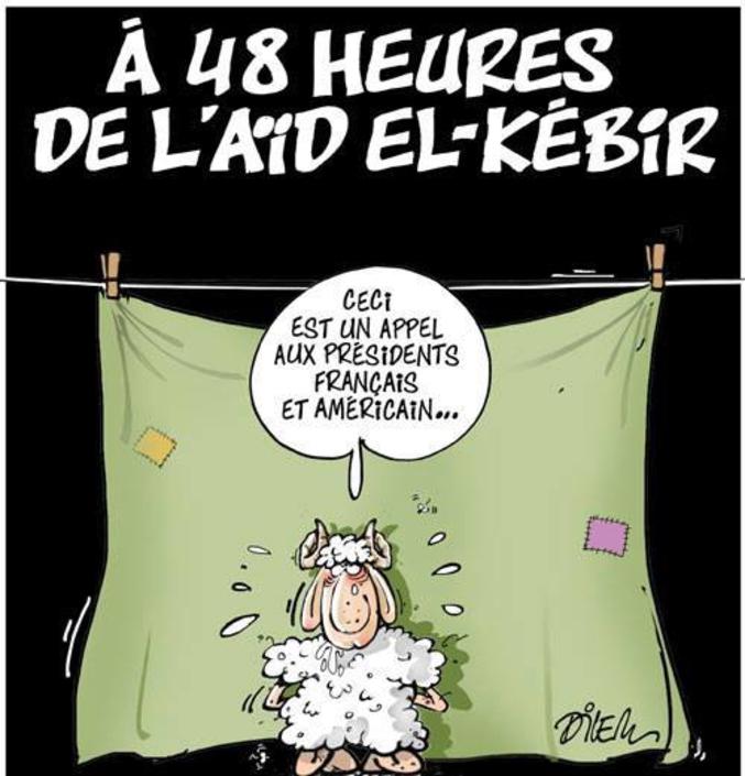 """Demain est la fête dite """"du mouton"""" chez les musulmans, bonne Aïd El Kebir (Caricature Dilem/Algérie)"""