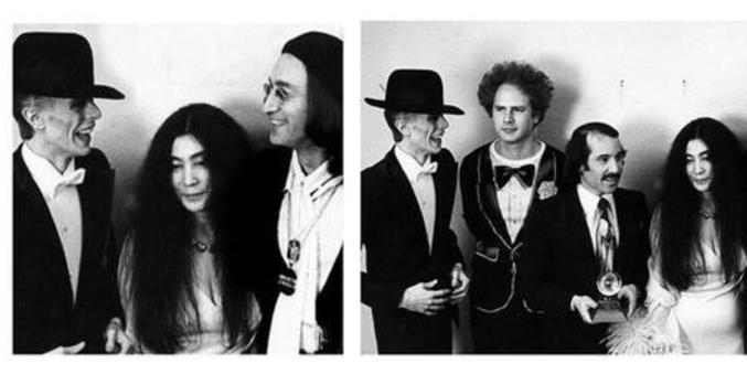 A la mort d'une légende, chacun y va de sa petite larme. C'est le cas de Yoko Ono, femme de feu John Lennon, qui, sur son compte Twitter, a publié une photo la montrant avec son mari John Lennon et David Bowie, accompagné d'un court texte : « John et moi avions peu d'amis, nous avions le sentiment que David était presque de la famille. Nous garderons de doux souvenirs pour toujours. »   Sauf que la photo a été prise à la 17e cérémonie des Grammy Awards par le photographe Ron Galella, le 1er mars 1975 à New York. Paul Simon et John Lennon remettaient alors à Art Garfunkel une récompense destinée à John Farrar et Olivia Newton-John (absents lors de la cérémonie), pour la chanson 'I Honestly Love You'.