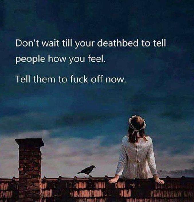 N'attendez pas d'être mourant pour dire aux personnes ce que vous pensez d'elles... Dites-leur dès aujourd'hui d'aller se faire foutre !